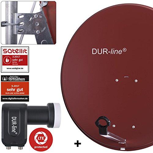 DUR-line MDA 80 Rot - Digiatale 2 Teilnehmer Satellitenschüssel Komplett-Anlage mit +Ultra Twin - LNB [Camping, Astra 19,2°, DVB-S/S2, Full HD, 4K, 3D]