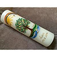 Taufkerze mit Lebensbaum - inkl. Beschriftung von Babyprince - handgearbeitete Wachsverzierungen - !!! keine Folie !!!