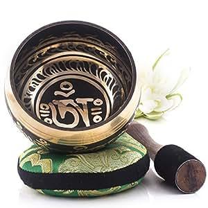 Silent Mind ~ Bol Chantant Tibétain ~ Design harmonie et équilibre ~ Génial pour la méditation, la relaxation, le stress et le soulagement de l'anxiété, la guérison des chakras ~ Cadeau parfait
