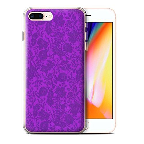Stuff4 Gel TPU Hülle / Case für Apple iPhone 8 Plus / Orange Muster / Blatt/Silhouette Muster Kollektion Lila