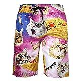 DOTBUY Uomo Costume da Bagno, Estate Mare Pantaloncini da Spiaggia personalità Creativo 3D Stampa Asciugatura Rapida Bermuda Calzoncini Sportivi Shorts con Tasche (2XL,Gatto di Pizza)