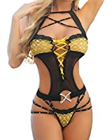 SUNNOW® Sexy Femmes Lingerie Coquine En Lace Creux Lingerie Jumpsuit sexy erotique ouverte perspective Pyjamas