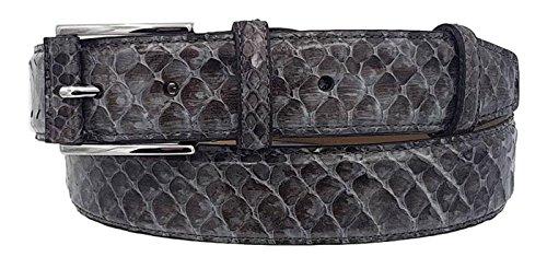 ESPERANTO Cinturón de 35 mm en pitón brillante con una hebilla semicubierta gris (TAMANO 50-MISURA TOTAL 125 CM-CONEXION 110 CM)