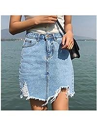 40c450db9b96 Kidly Mini Jeans Sexy Strappati dell'Annata Gonne delle Ragazze Gonna a Vita  Alta delle Donne di Estate della…