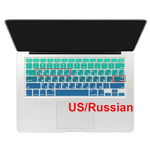 Alphabet Ombré-Tastatur-Abdeckung Wasserdicht Silikon Haut für Apple MacBook Air 13Mac Pro 131543,2cm (mit Oder Ohne Retina Display) Grün Gradient Green ()