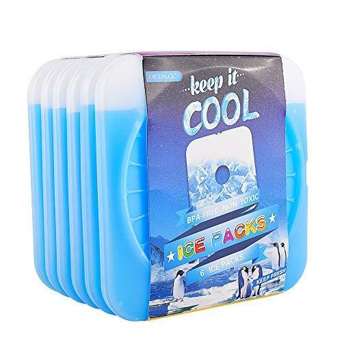 OICEPACK Kühlakkus für Kühler, dünne Kühlakkus für Kühler, geeignet für Lunch-Taschen, Gel-Eis-Packs, hält lange kalt, gefrierbar, Kühlakkus, hält Lebensmittel kühl und frisch. 6 blau Freezable Gel