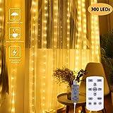 IREGRO 300 LED 3m x 3m Luce della Stringa Tenda Finestra, 10 Strisce con 8 modalità per Interni/Esterni per Feste, Matrimoni, Patio di Casa, Decorazione del Giardino di Prato (Bianco Caldo)