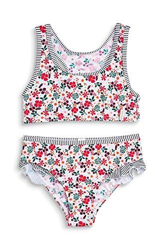 ESPRIT Mädchen Mille Fleur Beach MGbustier + Brief Badebekleidungsset, Weiß (White 100), 128 (Herstellergröße: 128/134) -