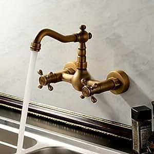 antique inspir¨¦e robinet de cuisine - fixation murale (finition laiton antique)