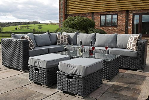 Yakoe Papaver 8 Seater Rattan Corner Set Patio