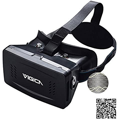 VIGICA Virtual Reality VR Headset DIY 3D Video Glasses Movie Game Glasses Adjustable Strap with Magnet Controller for 3.5-6 inch iPhone 6 plus Samsung Android Smartphone (VR-1)