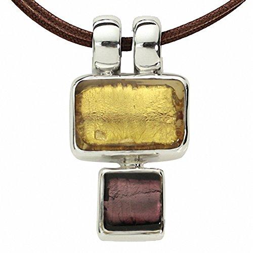 Gabriella Nanni, collier en coton ciré avec pendentif en argent 925et verre de Murano-minicollana or