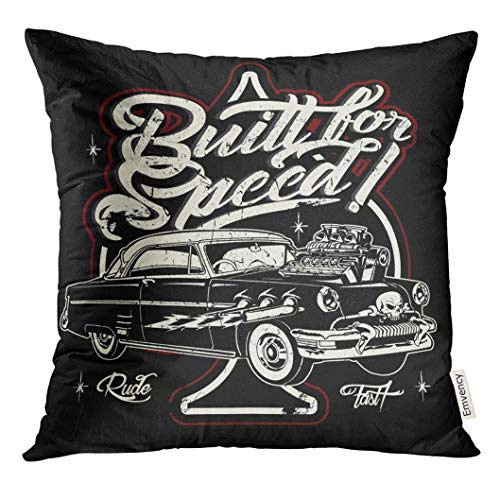 Cupsbags Throw Pillow Cover Rockabilly Cartoon Retro Hot Rod American Antique Decorative Pillow Case Home Decor Square 18x18 Inches Pillowcase (Case Rod Ice)
