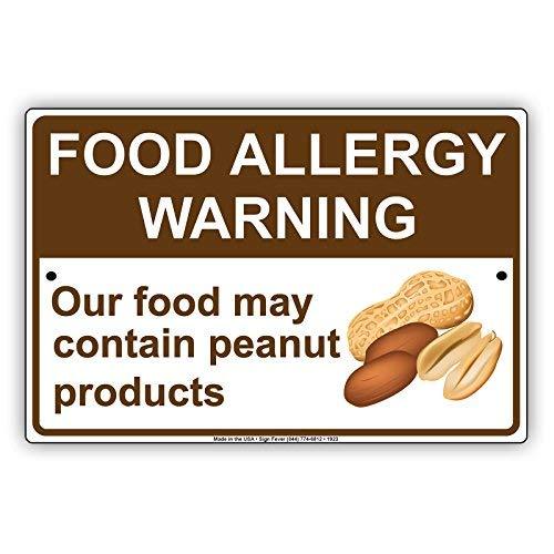 HSSS Lebensmittelallergie Warning Our Food May Contain Peanut Products Achtung Achtung Achtung Hinweis Aluminium Metall Blech 20,3 x 30,5 cm Schild
