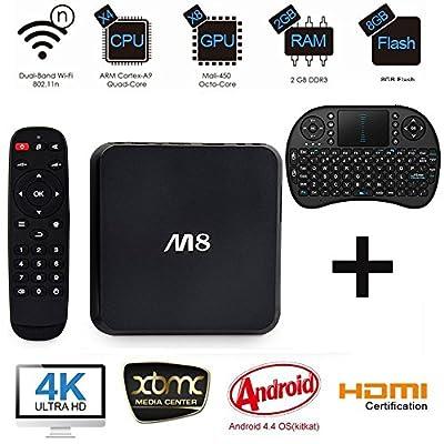 [With Mini Wireless Keyboard] SEGURO® M8 TV BOX Fully Loaded KODI XBMC Quad Core Android 4.4 Streaming Media Player