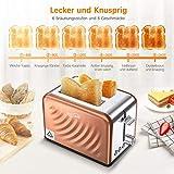 Housmile Edelstahl Toaster für 2 Brotscheiben, Frühstück Sandwichtoaster mit herausnehmbarer Krümelschublade und 6 Bräunungsstufen, abnehmbarer Brötchenaufsatz und praktische Hebefunktion, Bronze - 4