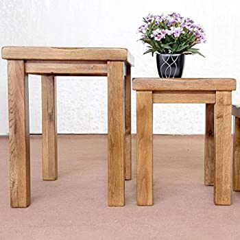 Original Oak Nest of 3 Tables Retro Style Wooden Coffee Table nest of table Nesting Set Rustic Solid