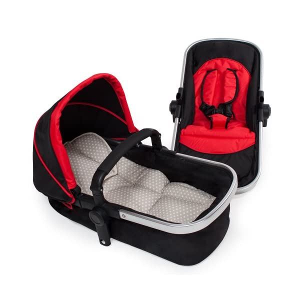 TecTake 3 in 1 Pushchair stroller combi stroller buggy baby jogger travel buggy kid's stroller -different colours- (Red/Black)  Aluminium frame | mosquito net Collapsible to a compact size for space-saving transport 5-point safety harness, Safety bar 6
