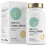 Hyaluronsäure Kapseln - Hochdosiert mit 395 mg pro Kapsel. 90 vegane Kapseln im 3 Monatsvorrat - 500-700 kDa - Angereichert mit Vitamin C, B12 und Zink - Für Haut, Anti-Aging und Gelenke - Cosphera