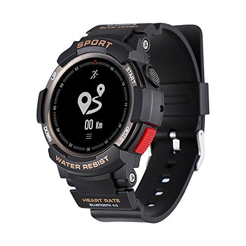 No. 1F6Reloj Inteligente IP68resistente al agua Bluetooth reloj, con GPS Monitor de sueño remoto cámara, para hombres, compatible con iOS y Android Teléfono, F6, negro