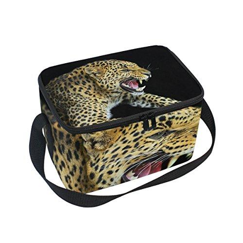 Isolierte Lunchtasche mit Leopardenmuster, wiederverwendbar, für Outdoor-Reisen, Picknick-Taschen