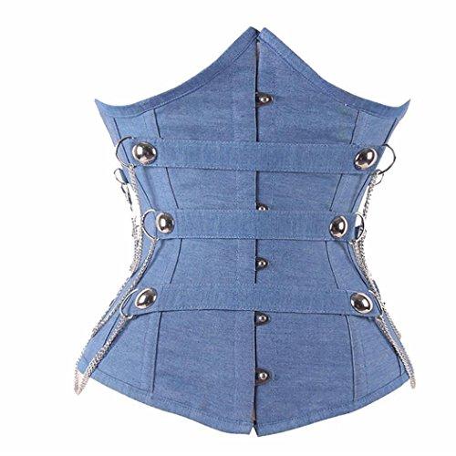 HXQ Korsett Denim Blue 12 Stahl gebackene Hakenaugen Unter Fehlschlag Taille Ausbildung Shapewear , l , pictures color (Gebacken Denim)