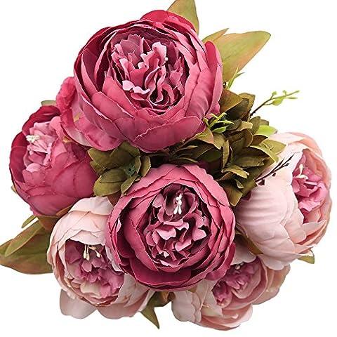 Luyue Jahrgang Blumen Haarzopf Künstliche Pfingstrose Seidenblumen Bouquet Startseite Hochzeit
