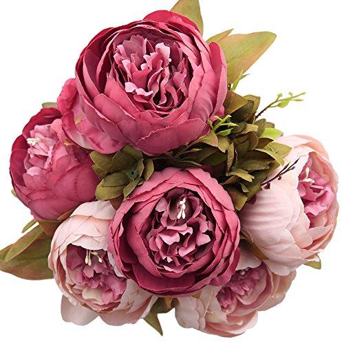 Luyue Jahrgang Blumen Haarzopf Künstliche Pfingstrose Seidenblumen Bouquet Startseite Hochzeit Dekoration