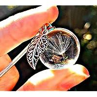 Regalo de Navidad Collar de diente de león dije de hoja antigua Cadena de plata esterlina Caja de regalo - Hoja colgante Regalo a medida joyas únicas para mujeres