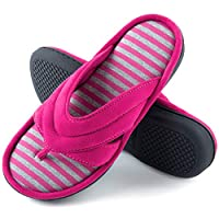 ZIZOR Women' s Memory Foam Flip Flop Slippers with Suede Upper, Ladies' Spa Thong Slippers, Summer House Shoes with Anti-Skid Rubber Sole(Rose Red, 6.5-7.5)