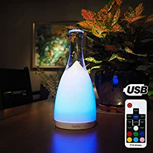 Lampe Chevet LED Rechargeable Tactile et Télécommande, Aglaia lampe d'ambiance en Verre avec 6 Niveaux Lumière et Couleur Réglable, pour Chambre, Salon, Salle à manger