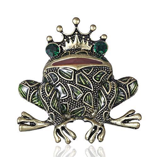 AILUOR Damen Neue Einzigartige Gemusterte Frosch Brosche, Vintage Gold-Tonrhinestone Emaille-Kronen-Kröte Insekt Tier-Revers-Stifte grün ()