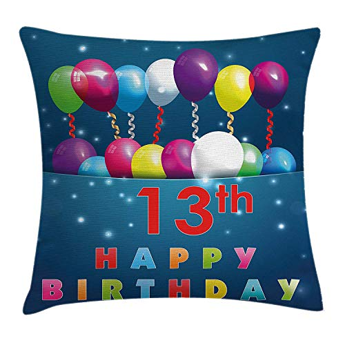 VICKKY 13th Birthday Throw Pillow Cushion Cover, Joyful Surprise Event Teen Celebration Party with Balloons Ribbons Stars, Decorative Square Accent Pillow Case, 18 X 18 Inches, Multicolor