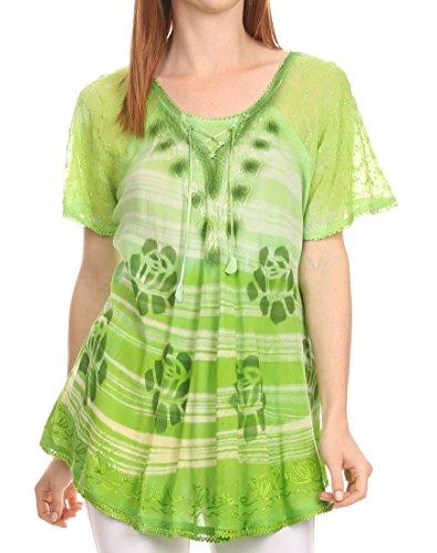 Sakkas 16789 - Reya Lace Embroidered Cap Sleeve Corset Tie Dye Blouse Top Shirt- Grün-OS (Tie Dye Cap Baumwolle)