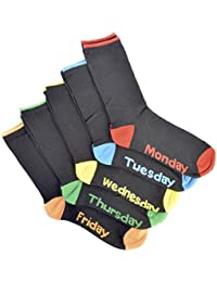 RJM 5 Pairs Monday - Friday Cotton Rich Socks Black 7-11