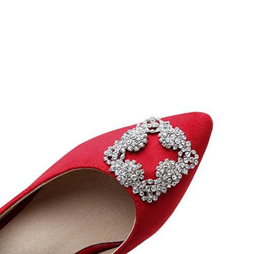 VogueZone009 Femme à Talon Correct Couleur Unie Tire Pointu Chaussures Légeres Rouge