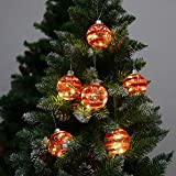 6 x Christmas Tree Baubles Balls Hanging Glass Baubles with Warm White LED Lights for Xmas Tree Holiday Party Festival Decoration (Red Strip)