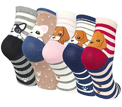 5 Pairs Womens Animal Socks Cute Funny Cotton Ladies Socks for Winter, Größe von UK 4 bis UK 8, EU-Größe 37-42.