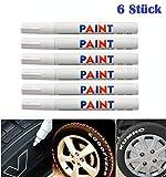 WEIß / WEISS 6x Stück Reifen Stift Reifenmarker Auto, Motorrad, Fahrradreifen Reifenmarkierungsstift Reifenstift Marker Stift Beschriftung wasserfest wetterfest -101934- INION®