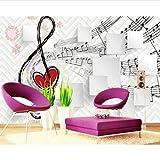 Papel pintado de la personalidad 3D Notas Notas Caja de música 3D Fondo de la pared Fondo de pantalla para paredes Paño de seda (W)500x(H)280cm