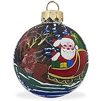 8,3cm Babbo Natale con slitta e renne palla di vetro di Natale ornamento