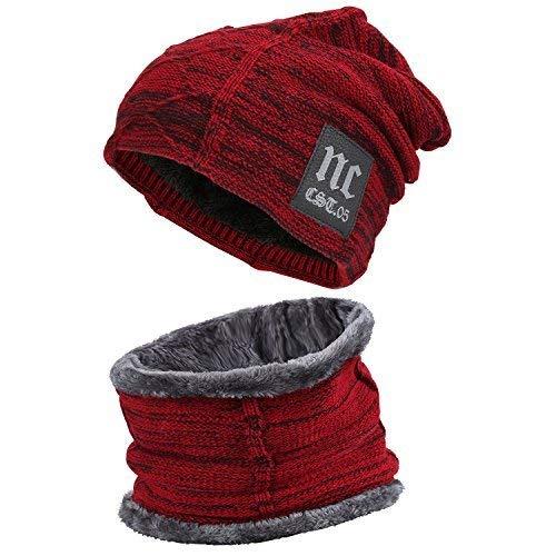 Fantastic Zone herren winter mütze hut schal set warmer wollmütze dicker fleece-gefütterte winter hut & schal einheitsgröße rot 2 (Herren Fleece Gefüttert Stricken Hut)