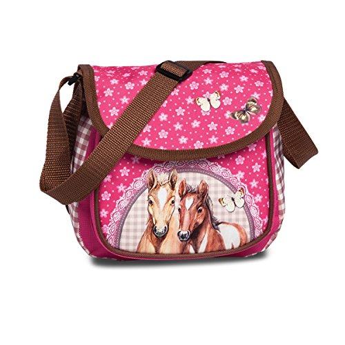 Kindergartentasche mit Pferde-Motiv pink