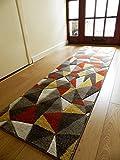 New Rost Gelb Slate Design Dicke Qualität Weiche Moderne geschnitzt Teppiche Billig Lang Läufer Matten UK, 66x230cm (Runner)
