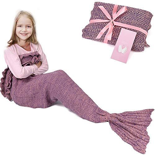 RUVALINO Meerjungfrau-Schwanz-Decke für Geburtstags-Geschenke, Süße Träume für Mädchen 3-12 Jährige, alle Jahreszeit-Schlafsack für Kinder 140 * 70 cm (Rosa) - Geschenke 3-jähriges Mädchen