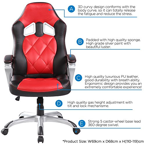 Office Chair Desk Chair Racing Chair Computer Chair Gaming chair with High Back PU Leather Executive (RED)