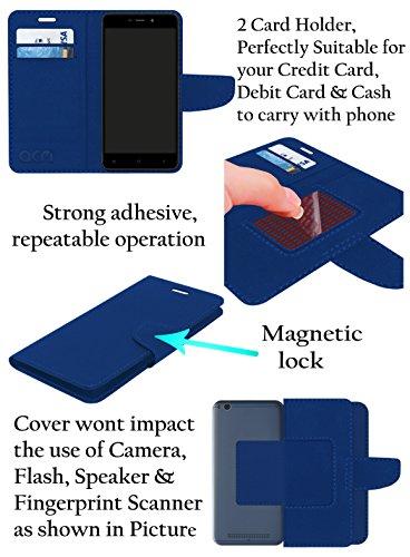 Acm Mobile Leather Flip Flap Wallet Case for Alcatel A50 Mobile Cover Blue