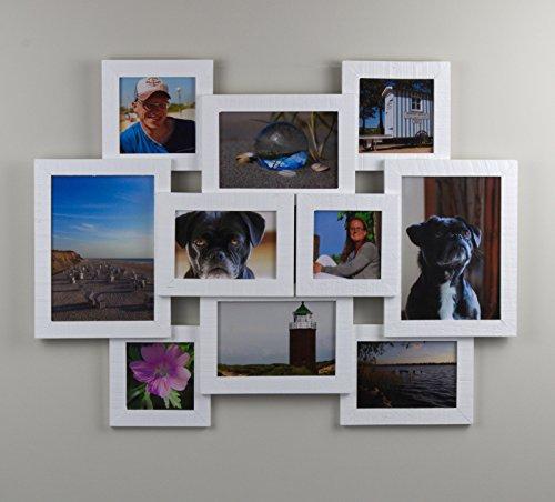 Kronos Multishot Fotorahmen 43x57 cm Massivholz Farbe Weiss Collagenbilderrahmen für 10 Bilder mit Echtglas