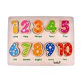 10 Numbers Vorschule Early Educational Development Hölzerne Puzzles, Geburtstagsgeschenk Spielzeug für das Alter 1 2 3 Kinder Kleinkinder Baby Jungen Mädchen (Kinderzählen Lernhilfen