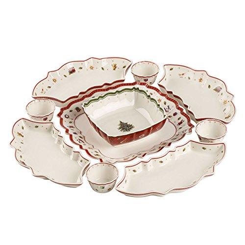 Villeroy & Boch Toy's Delight Ensemble à apéritif, 10 pièces, Porcelaine Premium, Blanc/Rouge